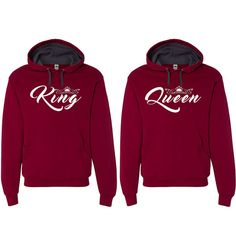 King Queen Hooded Sweatshirts Couple Matching by clothingforanyone
