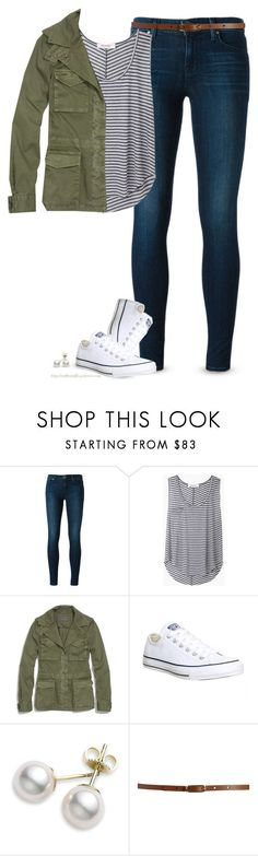 """""""Army Green jacket, Striped top & Chucks"""" by steffiestaffie ❤ liked on Polyvore featuring J Brand, Organic by John Patrick, Madewell, Converse, Mikimoto and Maison Boinet"""