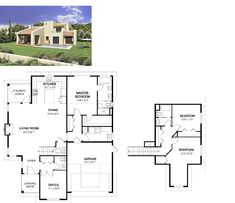 Un plano de una casa mediterránea con buenos espacios interiores y en el cual su fachada se proyecta a las costas mediterráneas