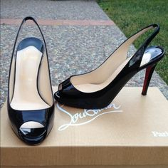 """Christian Louboutin Black Patent Lady Sling 100! CLASSIC gorgeous peep toe sling back in hi-gloss patent! 100% authentic. 3 3/4"""" heel with slight hidden platform. Excellent preloved condition. The only flaw is a small Knick at the base of one heel which can probably be fixed easily by a cobbler. Comes with box, bag, and replacement heel tips. These shoes are a great closet staple!!! Christian Louboutin Shoes"""