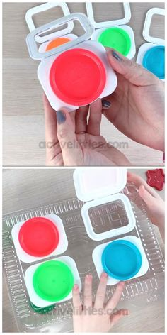 This diy recycled project is perfect for early learning about colors, fine motor skills and more! Fun recycled toy for toddlers, preschoolers and kindergarten. Baby Learning Activities, Motor Skills Activities, Montessori Activities, Infant Activities, Kindergarten Activities, Kids Learning, Montessori Baby, Toddler Crafts, Preschool Crafts