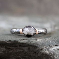 Raw Diamond Engagement Ring Sterling Silver 14K by ASecondTime