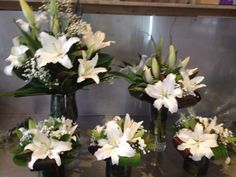 For a Birthday do, stunning white oriental lillies and tropical leaves. Corporate Flowers, Tropical Leaves, 30th Birthday, Oriental, Plants, 30 Year Anniversary, Thirty Birthday, Plant, Planets