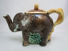 ANTIQUE ENGLISH MAJOLICA ' ELEPHANT ' TEAPOT *2