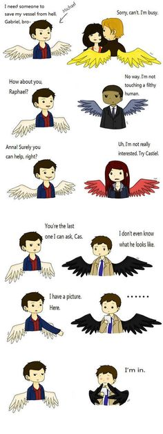 The way Cas' wings fold in lol this is adorable
