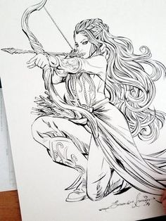 Pencil Drawing Tauriel by eDufRancisco on deviantART - Fantasy Drawings, Art Drawings Sketches, Pencil Drawings, Fantasy Art, Fantasy Tattoos, Tattoo Sketches, Elfen Tattoo, Coloring Books, Coloring Pages