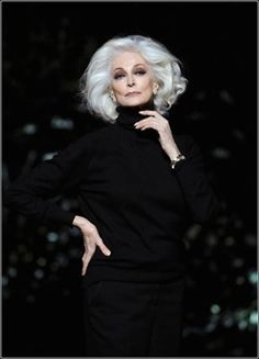Carmen Dell'Orefice     -    I hope that one day when my hair goes gray that it will be as fantastic as this woman's hair.
