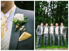 butter yellow, gray, boutonnieres and best men