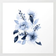 Navy Watercolor Flowers Carry All Pouch / Travel & Pencil Pouch by Katrina Crouch - Medium x Flower Canvas, Flower Frame, Flower Art, Framed Art Prints, Canvas Prints, Wall Prints, Navy Blue Flowers, Watercolor Illustration, Watercolor Artwork