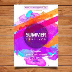 Лето шаблон фестиваль плакат Бесплатные векторы