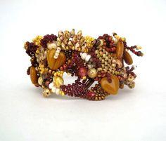 Beaded jewelry, Seed bead jewelry, Beadwork bracelet,  beaded cuff bracelet, Freeform bracelet, Earth colors, brown, caramel cream