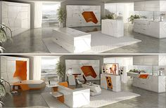Boxetti multi-functional bedroom, kitchen, living, and entertainment set ups.