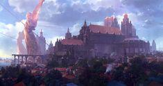 ArtStation Personal work Red Hong Fantasy concept art Fantasy city Fantasy landscape