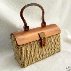 Marcus Brothers Vintage Handbag Lucite & Wicker