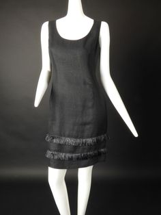 BILL BLASS-Black Linen & Raffia Dress, Size-6