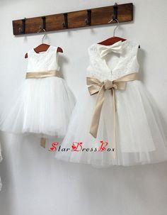 Champagne sash Ivory Lace Tulle Flower Girl von StarDressBox