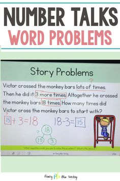 Teaching word problems to first graders can be challenging. This addition and subtraction story problem resource is perfect for engaging your young students in meaningful and interesting math talks. They are common core aligned and include problems with the unknown in all positions. Grab your set today! #wordproblemsfirstgrade #storyproblemsfirstgrade #firstgrademath First Grade Lessons, First Grade Math, Math Lessons, Math Fact Fluency, Number Talks, Math Talk, Math Intervention, Math Lesson Plans, Math Word Problems