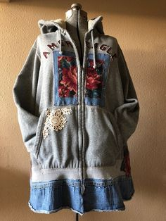 Excited to share this item from my shop: Upcycled Boho Gypsy Rose Tapestry Hoodie Jacket , Distressed Denim Artsy Patchwork Sweatshirt Coat Boho Gypsy, Gypsy Rose, Diy Clothes Refashion, Refashioned Clothes, Diy Kleidung, Diy Clothes Videos, Sweatshirt Refashion, Recycled Fashion, Recycled Clothing