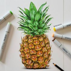 Probably the most intricately detailed drawing I've ever done🍍🍍 I thought of leaving this a few times but I'm glad I didn't😅😊 Pineapple Sketch, Pineapple Drawing, Pineapple Painting, Pineapple Tattoo, Pineapple Art, Pineapple Wallpaper, Pineapple Express, Drawing Apple, Copic Marker Art