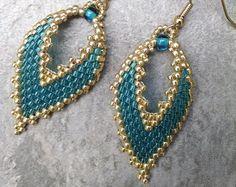 Russian Leaf Earrings in Teal Diamond Design by AlleywayBeading