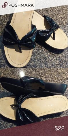 Black slight heel sandals. Very slight wear on bottoms. Nine West Shoes Sandals