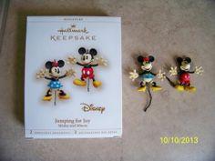 2 Hallmark Keepsake Ornaments Disney Mickey and Minnie Jumping for Joy 2006 | eBay
