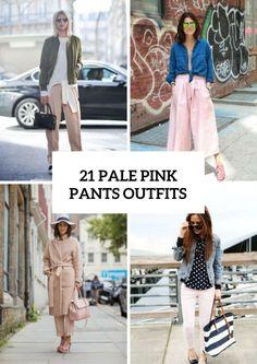 Żeńskie jasnoróżowe Spodnie Outfits