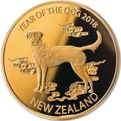 NZ Year of the Dog Gold Plated Medallion Gold Bullion Bars, Silver Bullion, Foreign Coins, Gold And Silver Coins, Gold Stock, Gold Medallion, Dog Years, Gold Filigree, Lab Diamonds