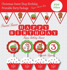 Christmas Sweet Shop Birthday printable party by smrpartydesigns, $35.00