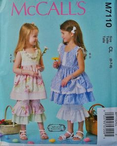 Girls Dress Pattern Girls Ruffle Capris Pattern Sz 6 to by blue510