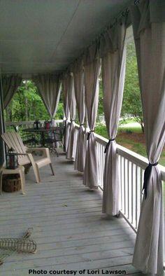 Drop cloth patio curtains! brilliant! Like and Repin. Noelito Flow instagram http://www.instagram.com/noelitoflow