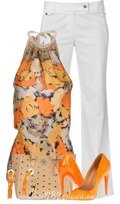 """Pinko Top w/ White Pants"" by mhuffman1282 ❤️ liked on Polyvore"