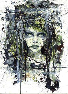 green_by_zoundsister (kristina svartz rydmark - Sweden) Aquarelle, acrylic & ink 2006 25x35 cm