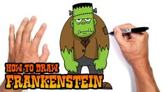 Simple Frankenstein Drawing - Draw the ears and bolts on the side of the neck and then color in some eyes. Frankenstein is a monster monstrous creation by an evil scientist made fa. Cute Halloween Drawings, Zombie Drawings, Cartoon Drawings, Cute Drawings, Easy Drawings For Kids, Drawing For Kids, Drawing Art, Halloween Poster, Halloween Kids