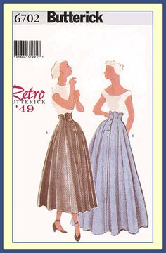 Butterick 6702 Retro '49 Misses/Miss Petite Skirt Pattern 6-8-10 #Butterick