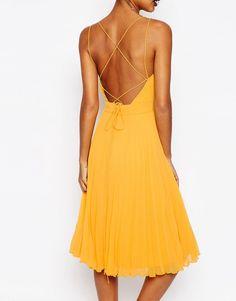 ASOS Deep Plunge Pleated Cami Midi Dress