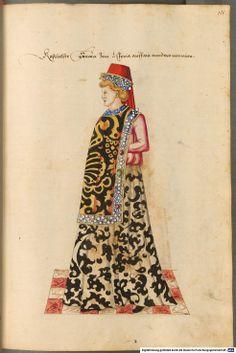 Kostüme der Männer und Frauen in Augsburg und Nürnberg, Deutschland, - BSB Cod.icon. 341