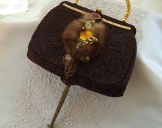steampunk couture for women   Advant Garde Purse, Brown silk, Steampunk Couture, fur, jewelry, watch ...
