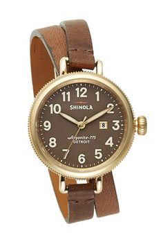Shinola 'The Birdy' Double Wrap Leather Strap Watch, 34mm | Nordstrom