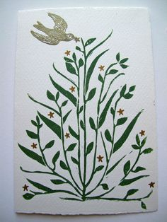Turkish Floral Christmas/Holiday Winter Tree Linocut Card. $5.00, via Etsy.