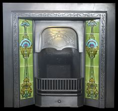 1-935 Art Nouveau tiles in cast iron reclaimed fireplace by Nostalgia Antique Fireplaces, via Flickr