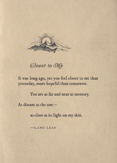 Closer to Me ~ Lang Leav