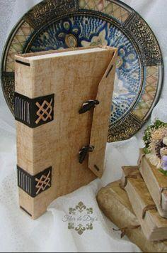 Flor de diy's: Caja libro mudéjar de símil pergamino