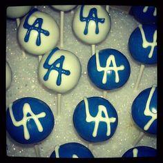 LA Dodgers Cake Pops by: Stick a Cake In It