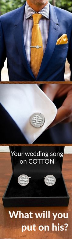 What a timeless anniversary gift for him- Custom cufflinks & tie clip with your wedding vows or song. Paper Anniversary® by Anna V will work with you to create this sentimental gift that your husband will keep forever. Design his gift today and get FREE c Wedding Song Lyrics, Wedding Songs, Our Wedding, Dream Wedding, Trendy Wedding, Wedding Ideas, Wedding Themes, Wedding Ceremony, 2nd Anniversary Gifts