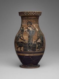 Black-figure olpe with Ajax and Achilles Gaming ca. 510-500 B.C. or later. Terracotta, black-figure with added red and white. Culture: Greek, Attic. Period: Late Archaic. | Copyright © 2015 The Yale University Art Gallery