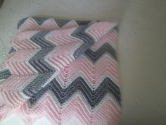 Pink and Gray Crocheted Chevron Baby Blanket on Etsy, $18.00