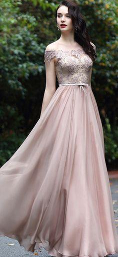 eDressit Blush Off Shoulder Lace Prom Dress