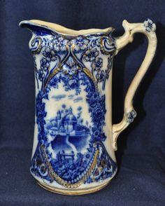 1890 BISHOP STONIER CHELSEA FLOW BLUE SCENIC PITCHER XW : Lot 176