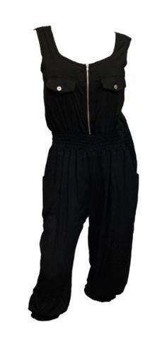 Plus Size Sleeveless Ruffled Jumpsuit Black
